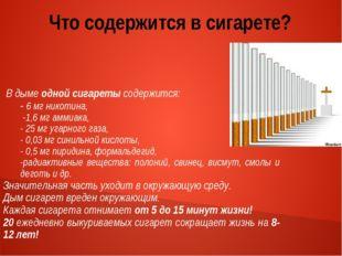 Что содержится в сигарете? В дыме одной сигареты содержится: - 6 мг никотина,