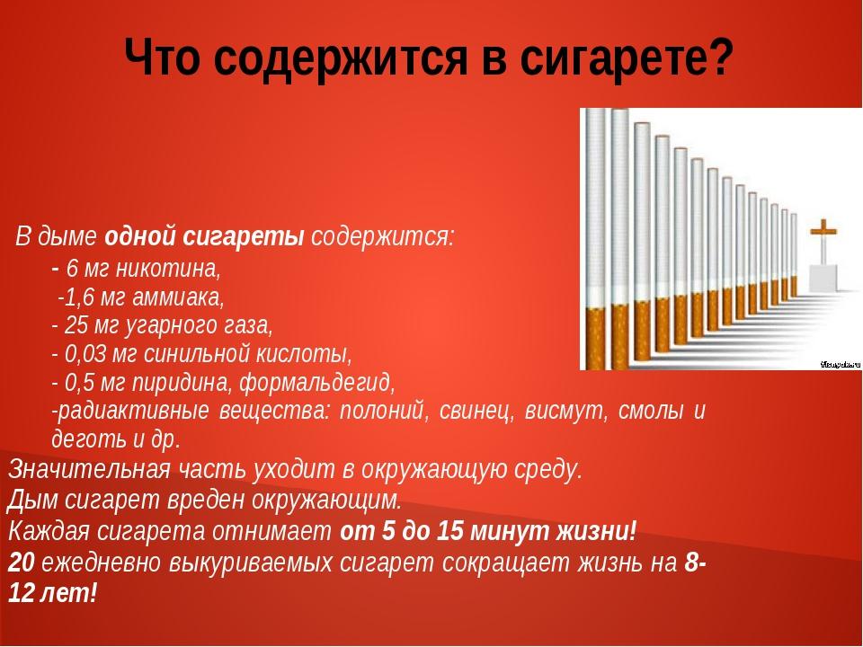 Что содержится в сигарете? В дыме одной сигареты содержится: - 6 мг никотина,...
