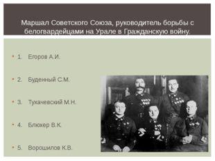 1.Егоров А.И. 2.Буденный С.М. 3.Тухачевский М.Н. 4.Блюхер В.К. 5.Вороши