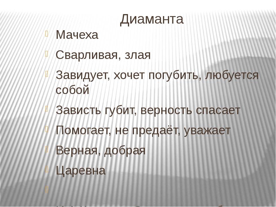Диаманта Мачеха Сварливая, злая Завидует, хочет погубить, любуется собой Зав...
