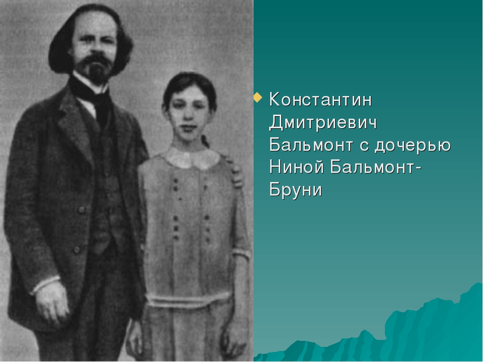 Константин Дмитриевич Бальмонт с дочерью Ниной Бальмонт-Бруни