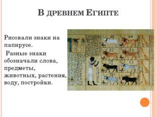 В ДРЕВНЕМ ЕГИПТЕ Рисовали знаки на папирусе. Разные знаки обозначали слова, п