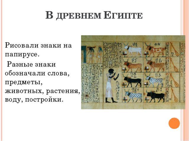 В ДРЕВНЕМ ЕГИПТЕ Рисовали знаки на папирусе. Разные знаки обозначали слова, п...