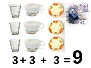 3 + 3 + 3 = 9
