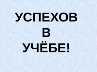 УСПЕХОВ В УЧЁБЕ!