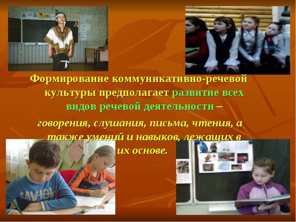 Формирование коммуникативно-речевой культуры предполагает развитие всех видов...