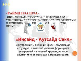 «ТАЙМД ПЭА ШЭА» ОБУЧАЮЩАЯ СТРУКТУРА, В КОТОРОЙ ДВА УЧАСТНИКА ДЕЛЯТСЯ РАЗВЕРНУ