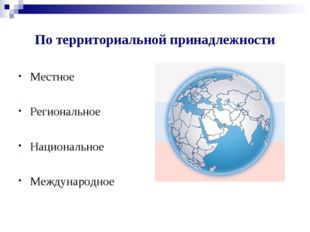 По территориальной принадлежности Местное Региональное Национальное Междунаро