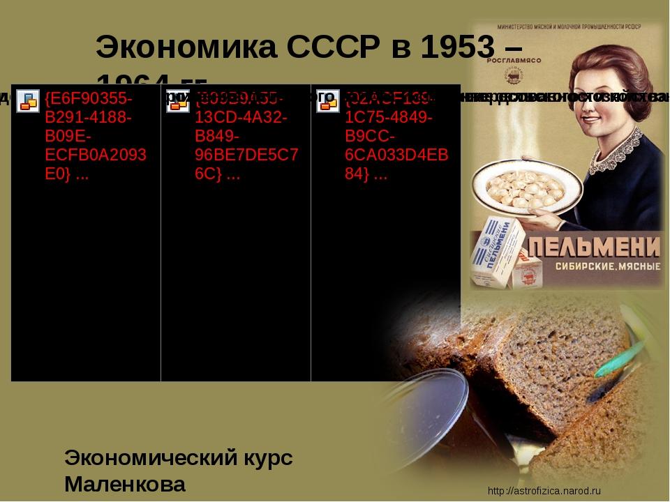 Экономика СССР в 1953 – 1964 гг. http://astrofizica.narod.ru Экономический ку...