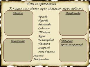К каким сословиям принадлежат герои повести Гринёв Пугачёв Мироновы Савельич