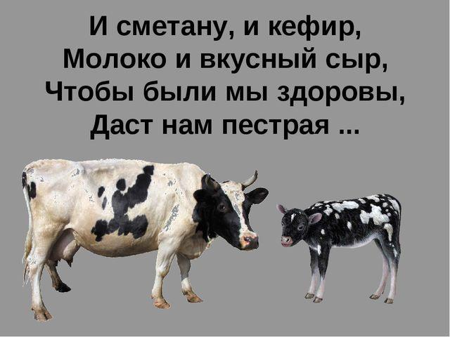 И сметану, и кефир, Молоко и вкусный сыр, Чтобы были мы здоровы, Даст нам пес...