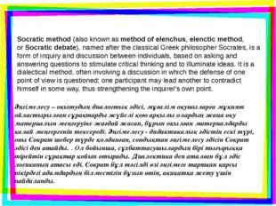 Socratic method(also known asmethod of elenchus,elenctic method, orSocrat