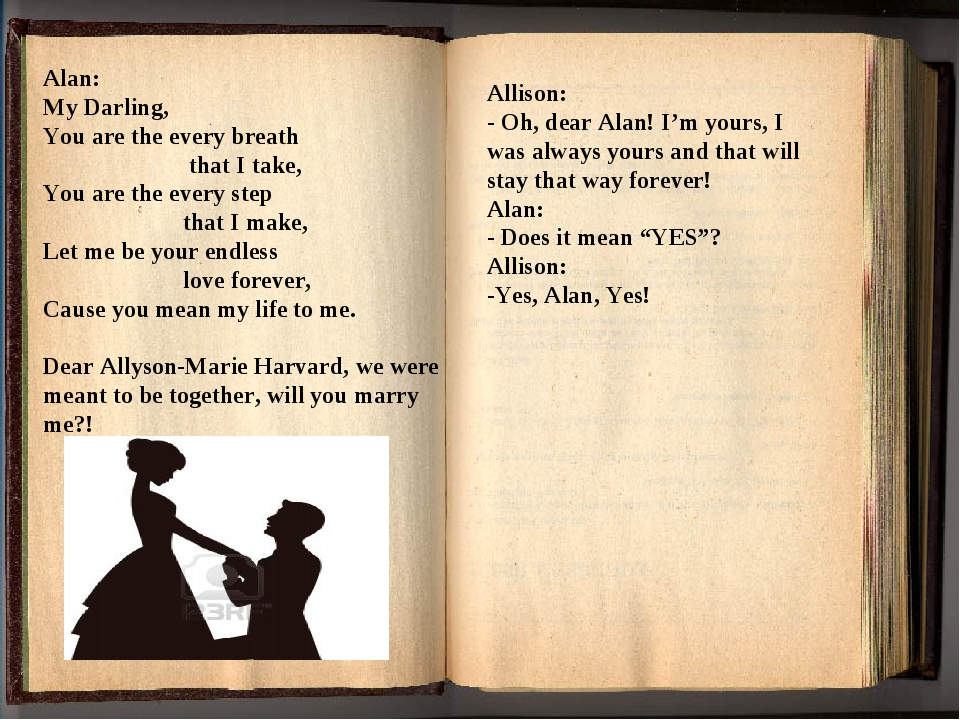 Alan: My Darling, You are the every breath that I take, You are the every ste...