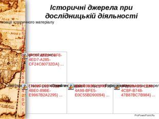 Історичні джерела при дослідницькій діяльності ProPowerPoint.Ru