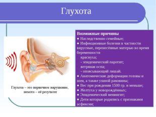 Глухота Возможные причины ● Наследственно семейные; ● Инфекционные болезни в