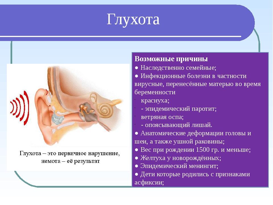 Глухота Возможные причины ● Наследственно семейные; ● Инфекционные болезни в...