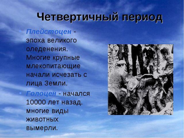 Четвертичный период Плейстоцен - эпоха великого оледенения. Многие крупные мл...