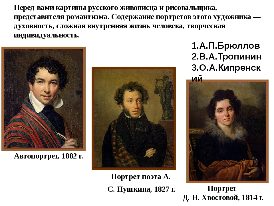 Автопортрет, 1882 г. Портрет поэта А. С. Пушкина, 1827 г. Портрет Д. Н. Хвост...
