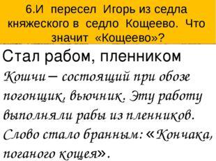 6.И пересел Игорь из седла княжеского в седло Кощеево. Что значит «Кощеево»?