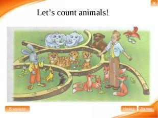 Let's count animals! В начало Далее Назад X