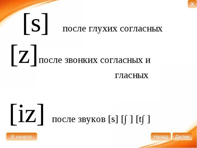 [s] после глухих согласных [z]после звонких согласных и гласных [iz] после зв...