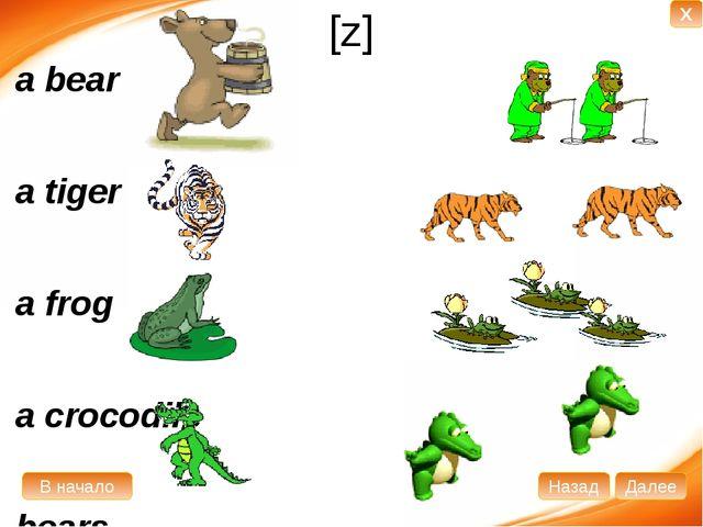 [z] a bear a tiger a frog a crocodile bears tigers frogs crocodiles В начало...