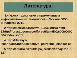 Литература: 1.« Уроки технологии с применением информационных технологий» Мос