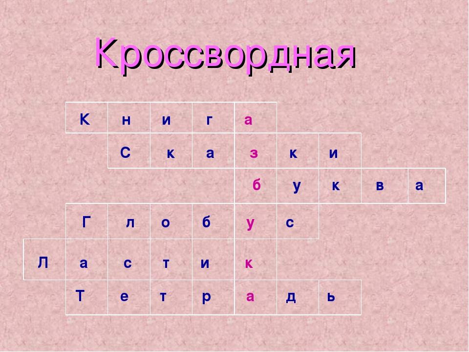 Кроссвордная К н и г а С к а з к и б у к в а Г л о б у с Л а с т и к Т е т р...