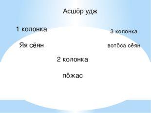 Асшöр удж 1 колонка Яя сёян 2 колонка пöжас 3 колонка вотöса сёян