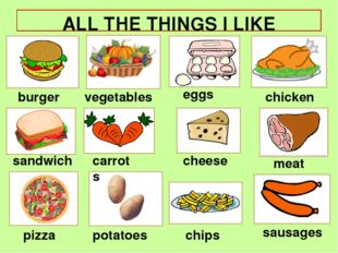 ALL THE THINGS I LIKE burger pizza chicken sandwich cheese eggs chips meat ve