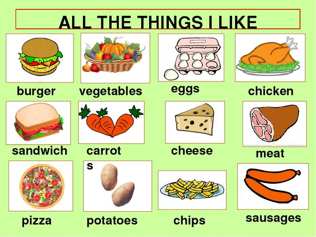 ALL THE THINGS I LIKE burger pizza chicken sandwich cheese eggs chips meat ve...