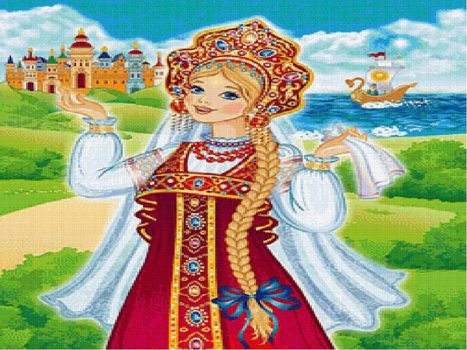 Слайд № 3 Однажды царевна гуляла по саду, вдруг налетел сильный ветер, подхва...