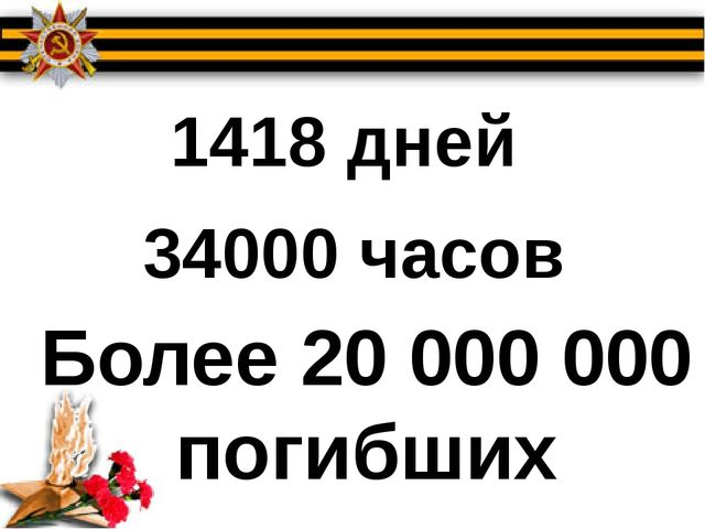 1418 дней 34000 часов Более 20 000 000 погибших