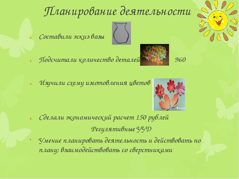 Планирование деятельности Составили эскиз вазы Подсчитали количество деталей...
