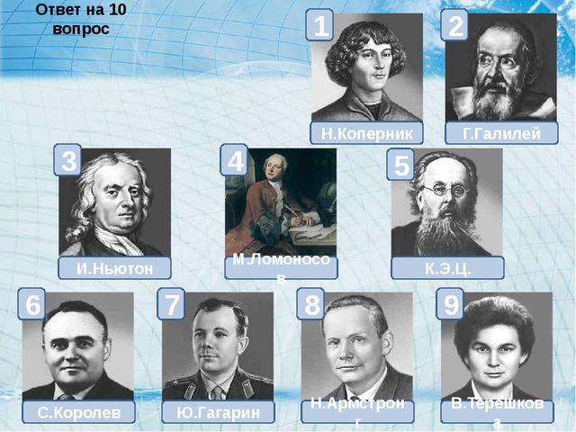 Н.Коперник К.Э.Ц. М.Ломоносов В.Терешкова Н.Армстронг Ю.Гагарин Г.Галилей И.Н...