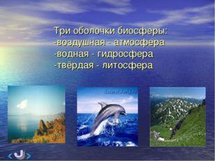 Три оболочки биосферы: -воздушная - атмосфера -водная - гидросфера -твёрдая -