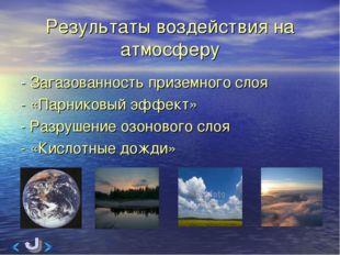 Результаты воздействия на атмосферу - Загазованность приземного слоя - «Парни