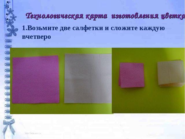 Технологическая карта изготовления цветка 1.Возьмите две салфетки и сложите к...