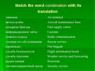 Match the word combination with its translation