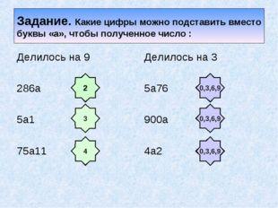 Задание. Какие цифры можно подставить вместо буквы «а», чтобы полученное числ