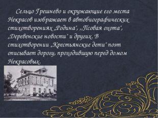 Сельцо Грешнево и окружающие его места Некрасов изображает в автобиографичес