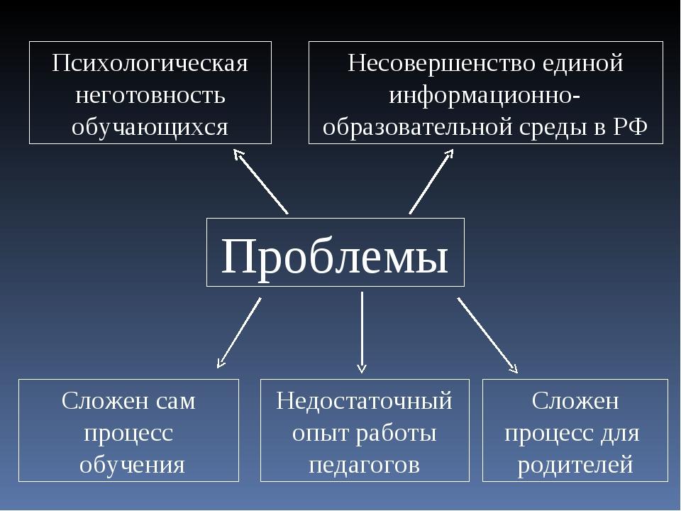 Проблемы Недостаточный опыт работы педагогов Несовершенство единой информацио...