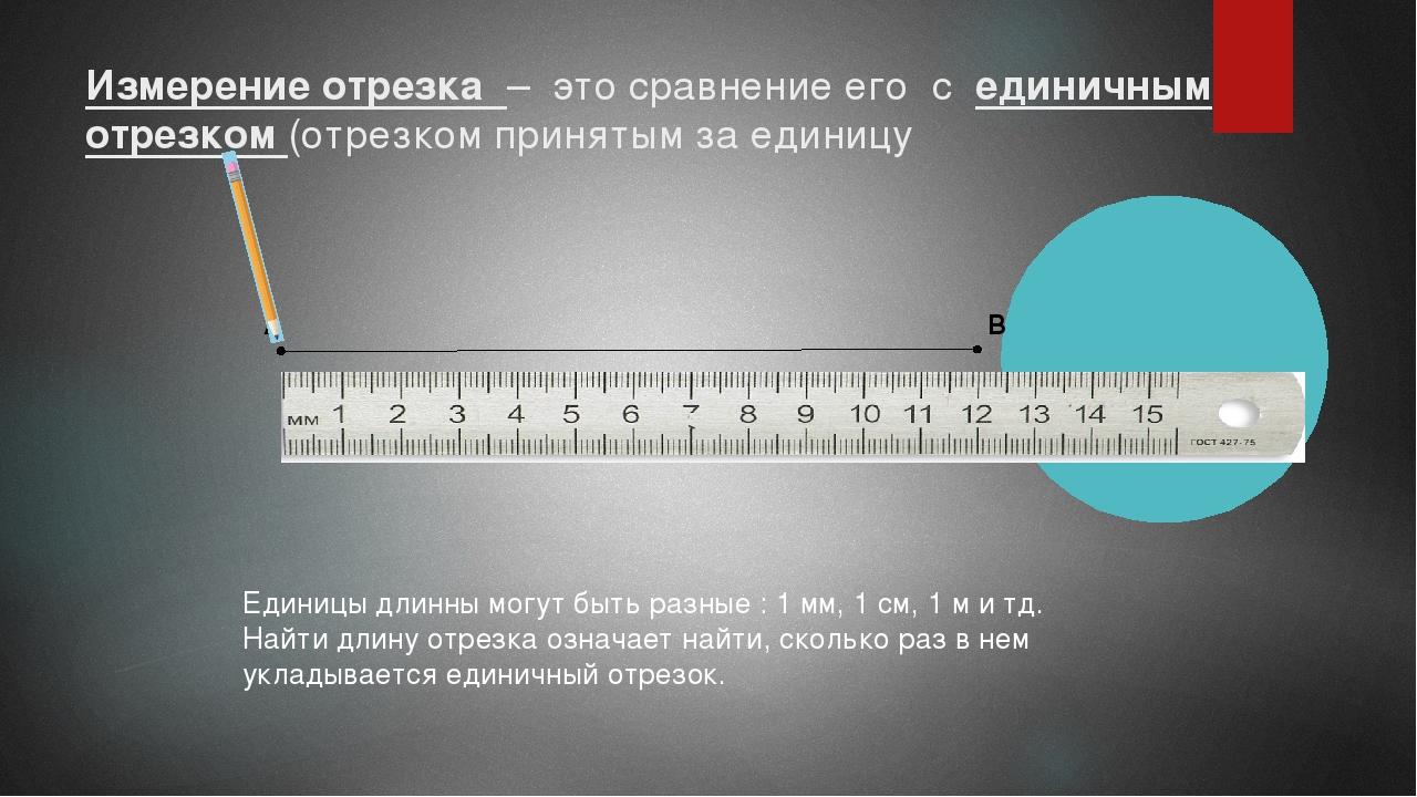 Измерение отрезка – это сравнение его с единичным отрезком (отрезком принятым...