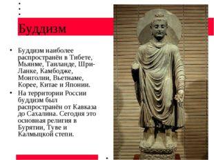 Буддизм Буддизм наиболее распространён в Тибете, Мьянме, Таиланде, Шри-Ланке,
