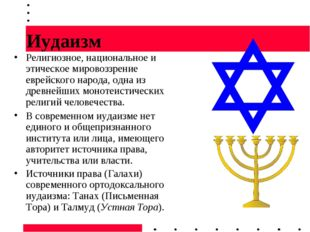 Иудаизм Религиозное, национальное и этическое мировоззрение еврейского народа