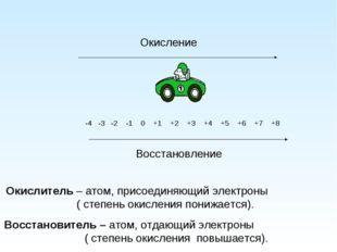 -4 -3 -2 -1 0 +1 +2 +3 +4 +5 +6 +7 +8 Окисление Окислитель – атом, присоедин