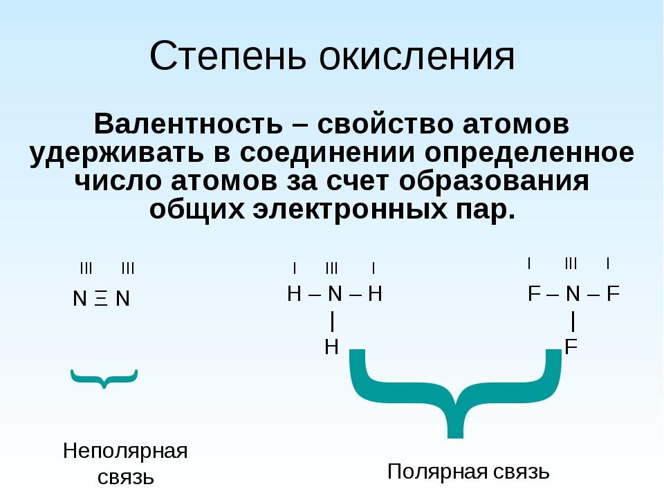 Степень окисления Валентность – свойство атомов удерживать в соединении опред...