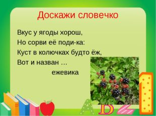 Доскажи словечко Вкус у ягоды хорош, Но сорви её поди-ка: Куст в колючках буд