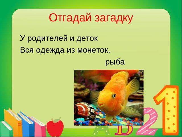 Отгадай загадку У родителей и деток Вся одежда из монеток. рыба