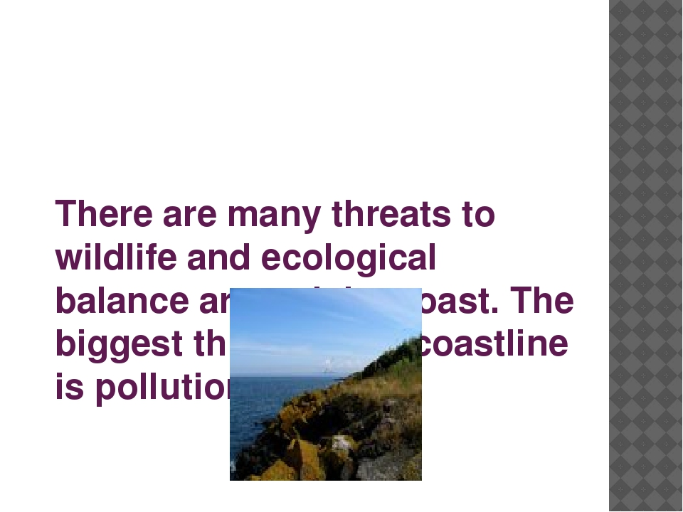 There are many threats to wildlife and ecological balance around the coast. T...